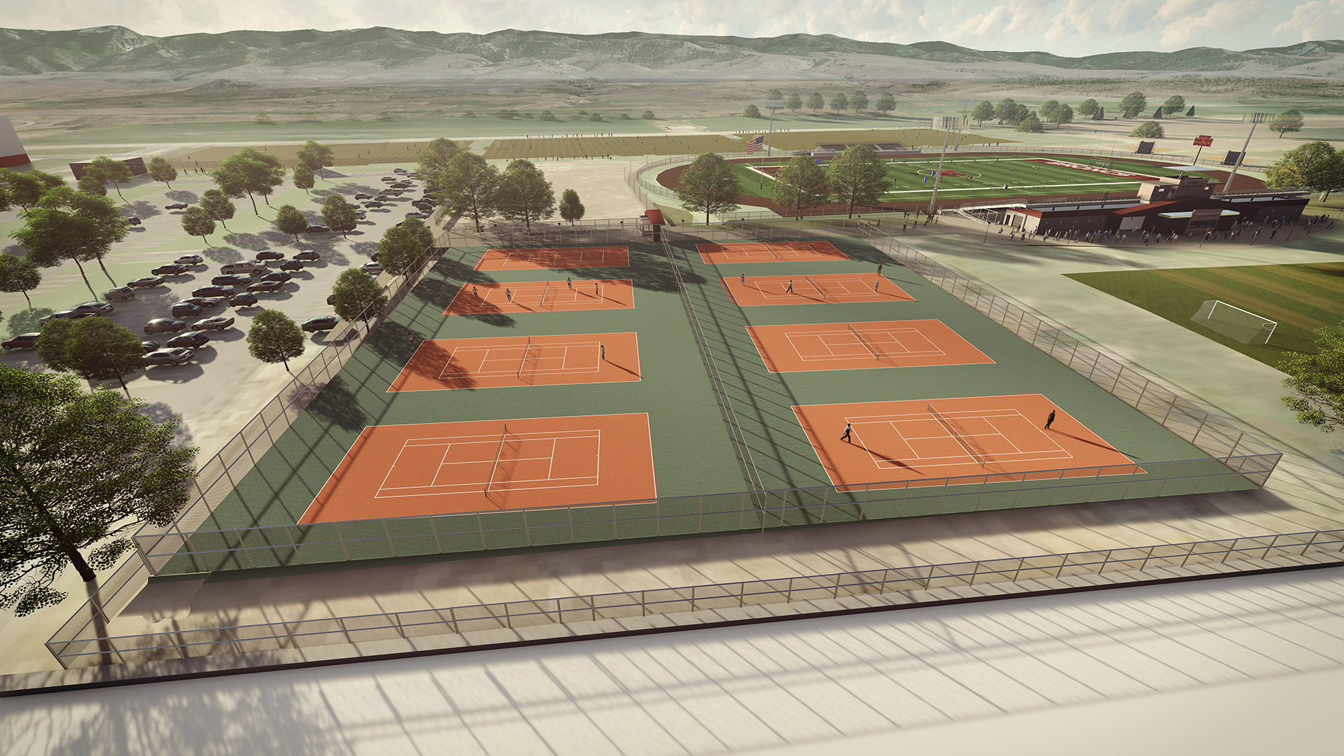 tennis courts above